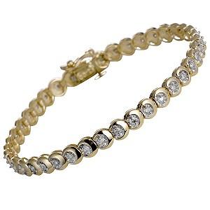 9ct yellow gold one carat diamond tennis bracelet - Product number 5402786