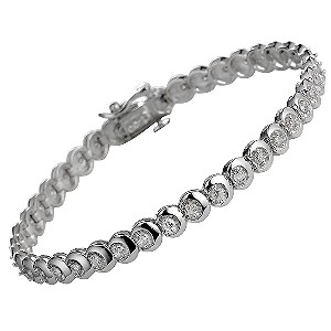9ct White Gold One Carat Diamond Tennis Bracelet Ernest