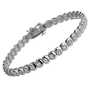 9ct white gold one carat diamond tennis bracelet - Product number 5402808