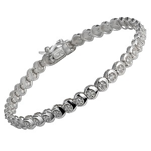 9ct white gold three quarter carat tennis bracelet - Product number 5402816