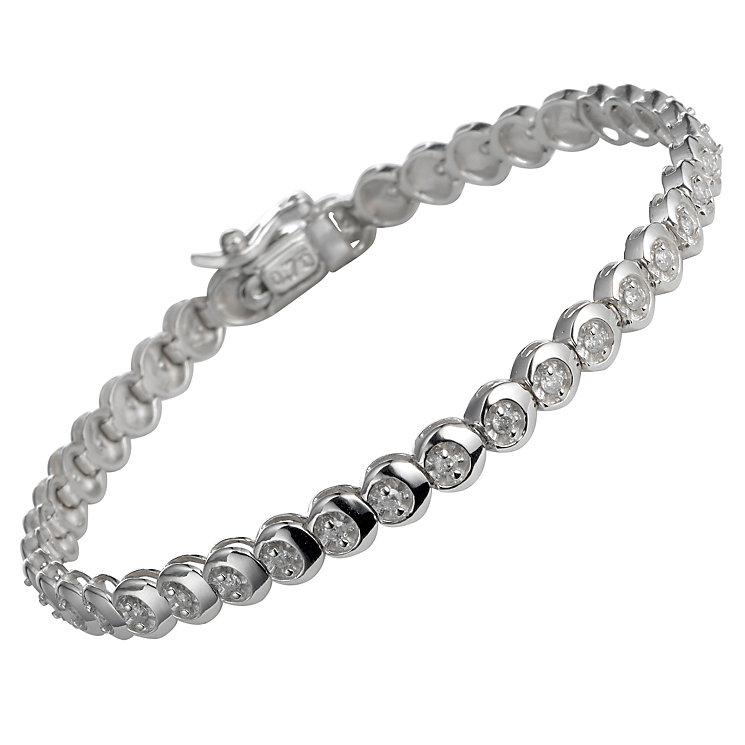 9ct white gold three quarter carat tennis bracelet - Product number 5402816