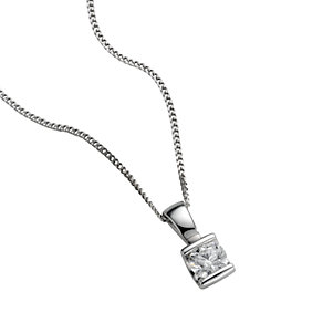 Platinum quarter carat diamond pendant necklace - Product number 5402875