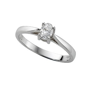 18ct white gold third carat oval cut diamond solitaire ring - Product number 5403812
