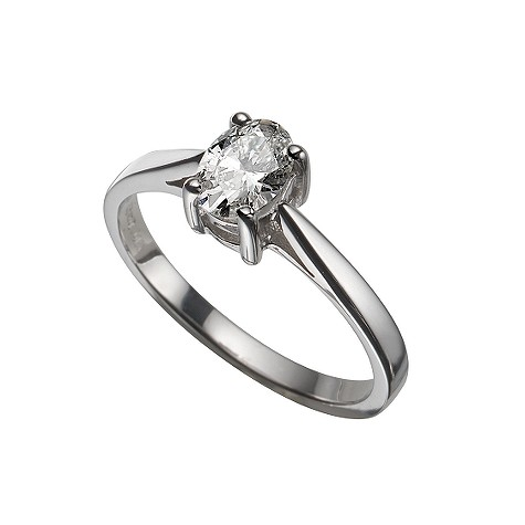18ct white gold half carat oval diamond solitaire ring