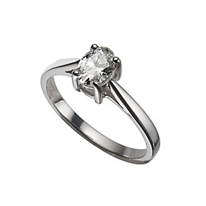 18ct white gold half carat oval diamond solitaire ring - Product number 5404088