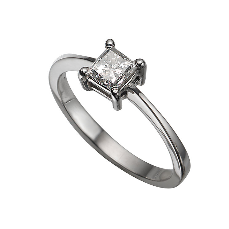 Platinum 0.50ct princess cut diamond solitaire ring - Product number 5404215
