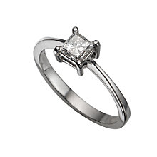Platinum half carat princess cut diamond solitaire ring - Product number 5404215