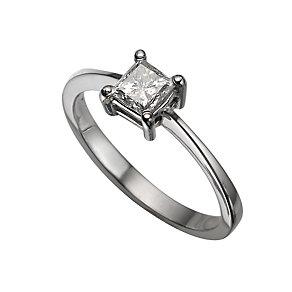 Platinum half carat princess cut diamond solitaire ring - Product number 5404215