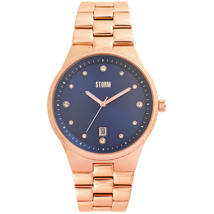 STORM Ladies' Blue Dial Rose Gold-Plated Bracelet Watch - Product number 5409985