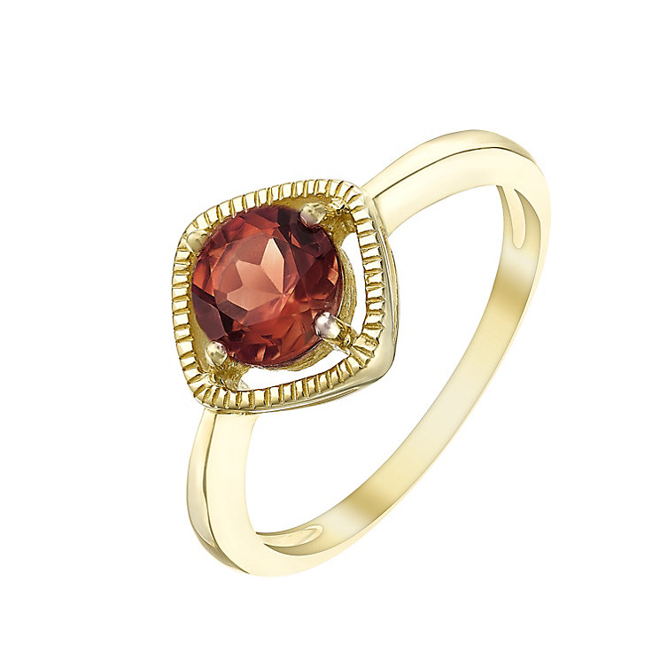 9ct Rose Gold Garnet Milgrain Detail Ring - Product number 5410754