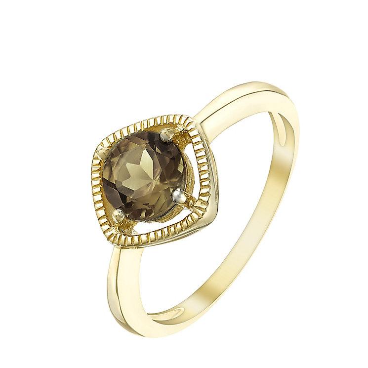 9ct Gold Smokey Quartz Milgrain Detail Ring - Product number 5410894