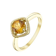 9ct Gold Citrine Milgrain Detail Ring - Product number 5411025