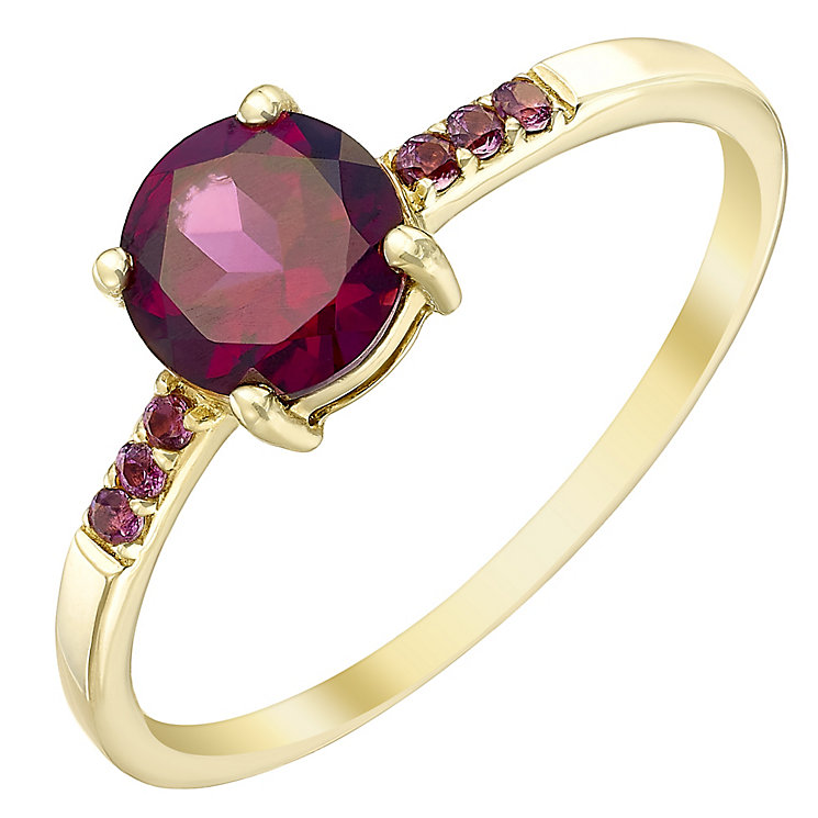 9ct Gold Garnet Ring With Stone Set Shoulders - Product number 5411580