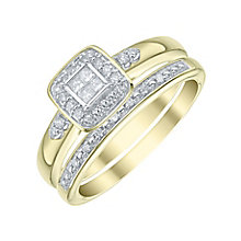 Perfect Fit 9ct Gold 1/5 Carat Diamond Bridal Ring Set - Product number 5412072