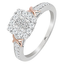 Princessa 9ct White and Rose Gold 0.66ct Diamond Ring - Product number 5414989