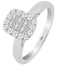 Princessa 9ct White Gold 1/5ct Diamond Cluster Ring - Product number 5415454