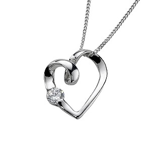 9ct white gold heart cubic zirconia pendant - Product number 5418178