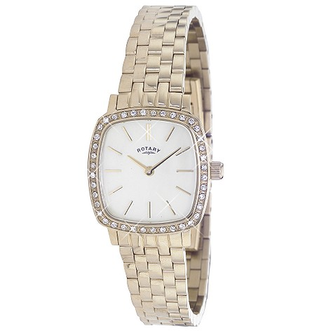 Rotary ladies' gold-plated crystal-set bracelet watch