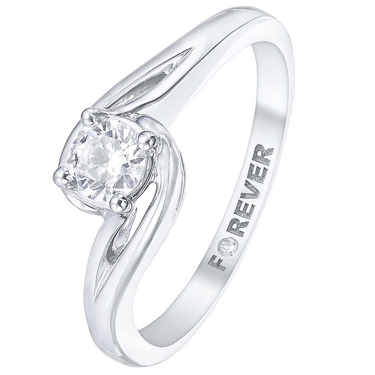 Palladium 1/3 Carat Forever Diamond Solitaire Twist Ring - Product number 5421047
