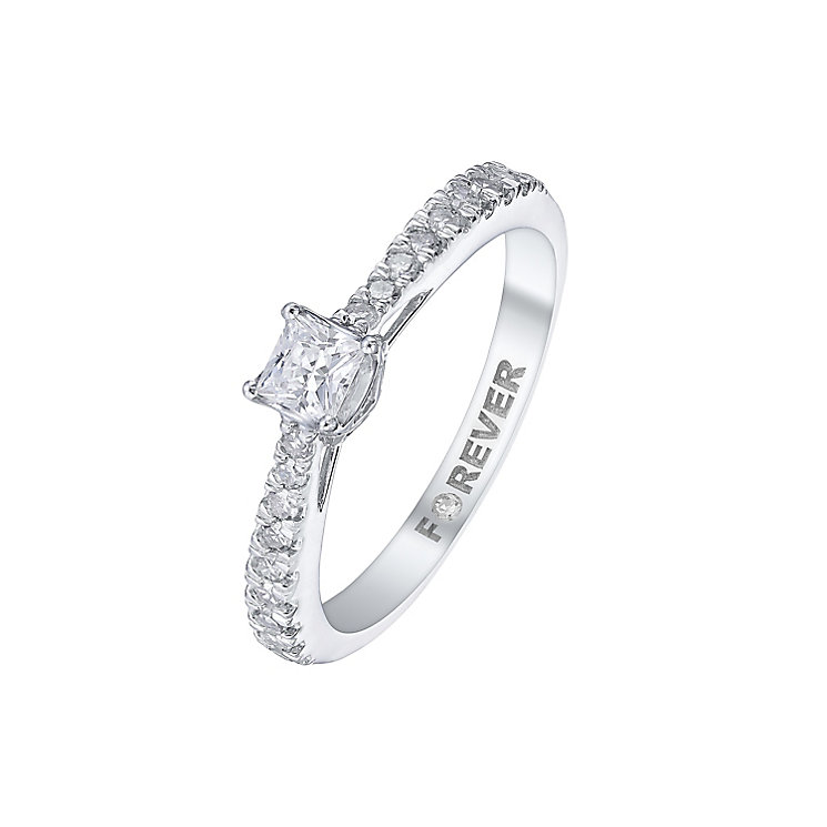 Forever Platinum Total 1/5ct Princess Cut Diamond Ring - Product number 5423090