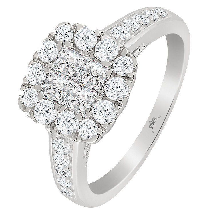 Princessa 9ct White Gold 1ct Diamond Square Cut Ring - Product number 5424356