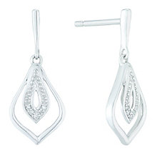 Sterling Silver Diamond Set Drop Earrings - Product number 5424518