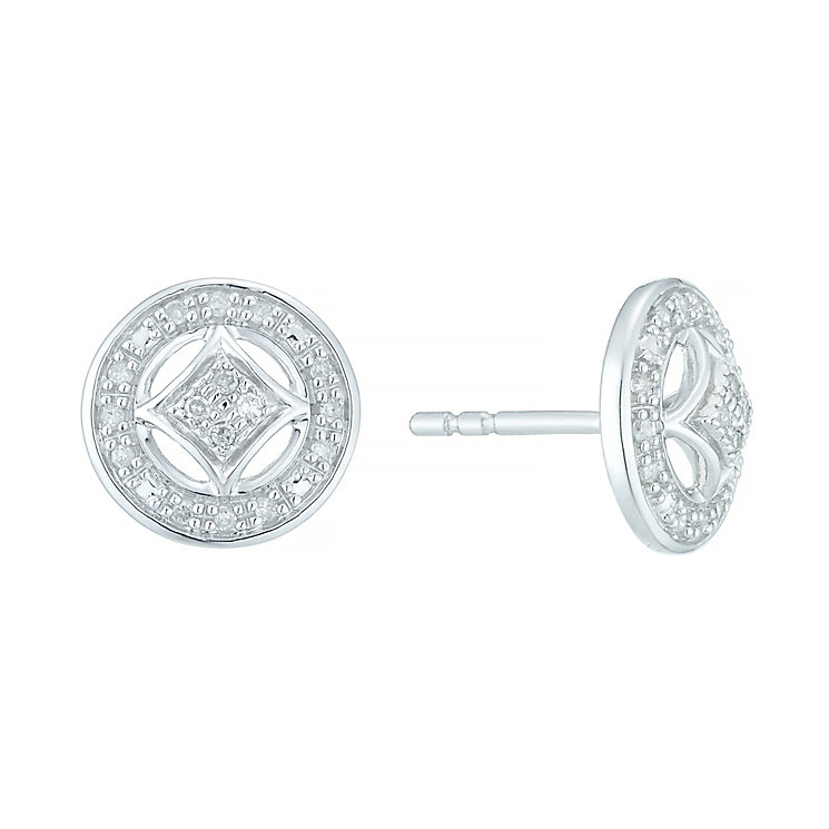 Sterling Silver 0.10 Carat Diamond Round Stud Earrings - Product number 5424534