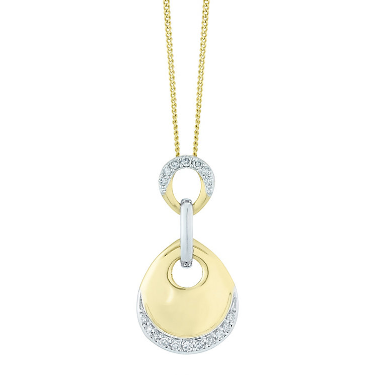 9ct Gold & White Gold 0.10 Carat Diamond Circle Drop Pendant - Product number 5424623