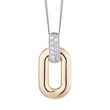 9ct Rose Gold & White Gold 0.10 Carat Diamond Link Pendant - Product number 5424658