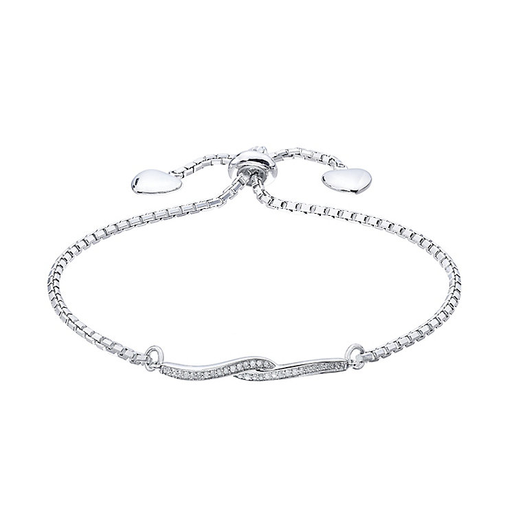 Sterling Silver 0.10 Carat Diamond Set Twist Bolo Bracelet - Product number 5424720