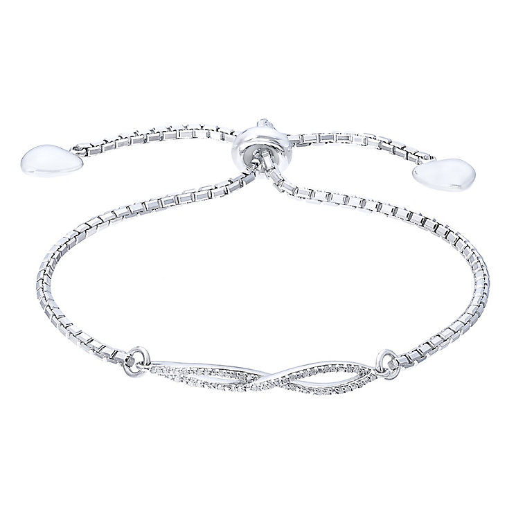 Sterling Silver 0.10 Carat Diamond Set Twist Bolo Bracelet - Product number 5424739