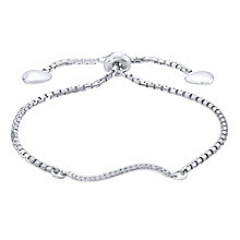 Sterling Silver 0.10 Carat Diamond Set Wave Bolo Bracelet - Product number 5424747