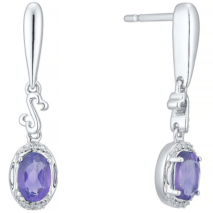 Open Hearts Silver Amethyst & Diamond Drop Earrings - Product number 5424755