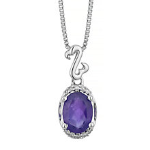 Open Hearts Silver Amethyst & Diamond Drop Pendant - Product number 5424763