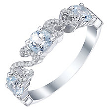 Sterling Silver Blue Topaz & Diamond Eternity Ring - Product number 5424771