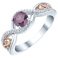 Sterling Silver & 9ct Rose Gold Garnet & Diamond Ring - Product number 5424933