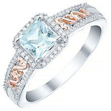 Sterling Silver & 9ct Rose Gold Blue Topaz & Diamond Ring - Product number 5425077