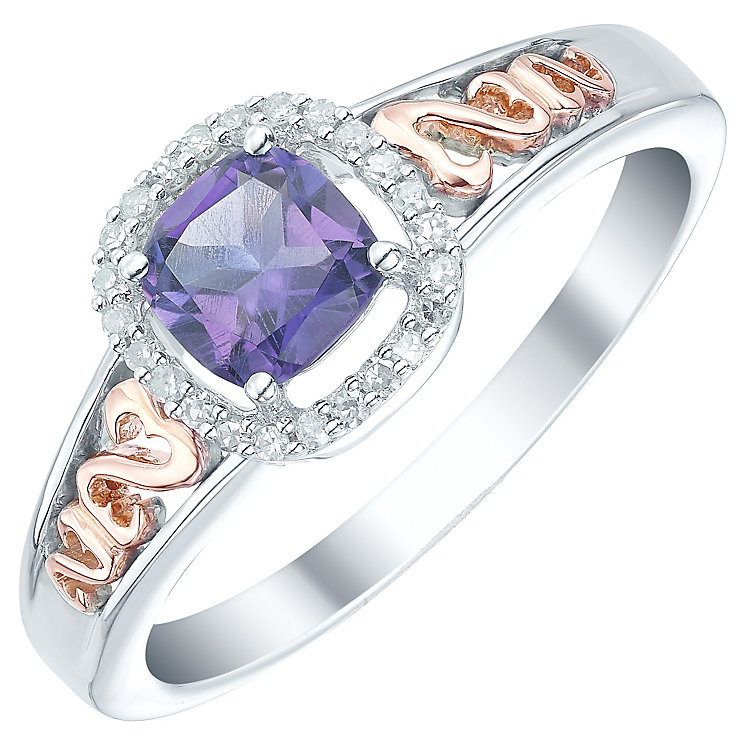 Sterling Silver & 9ct Rose Gold Amethyst & Diamond Ring - Product number 5425212