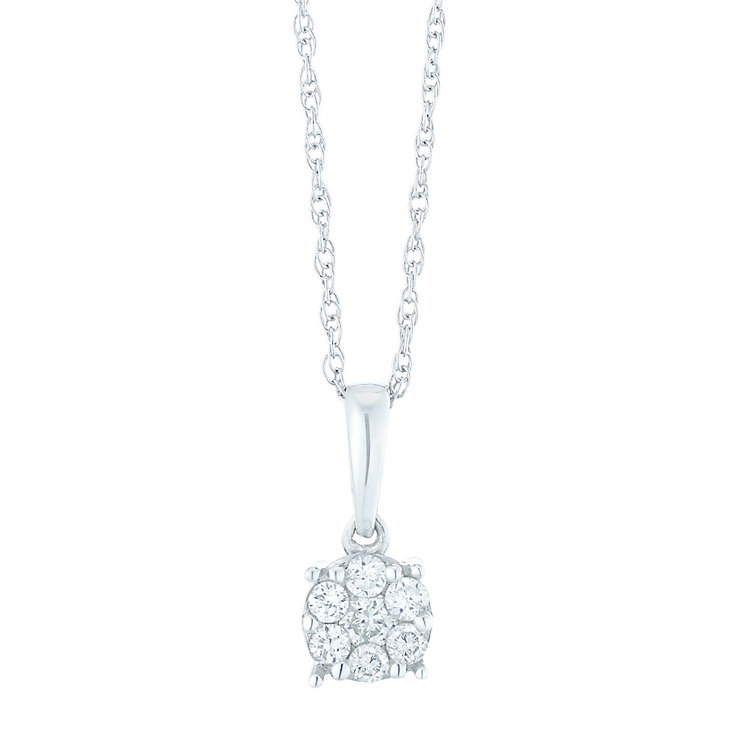9ct White Gold 0.10 Carat Diamond Cluster Pendant - Product number 5427614