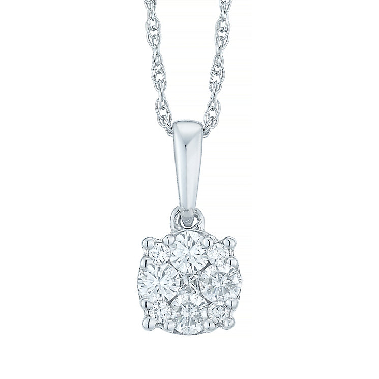 9ct White Gold 0.15 Carat Diamond Cluster Pendant - Product number 5427622