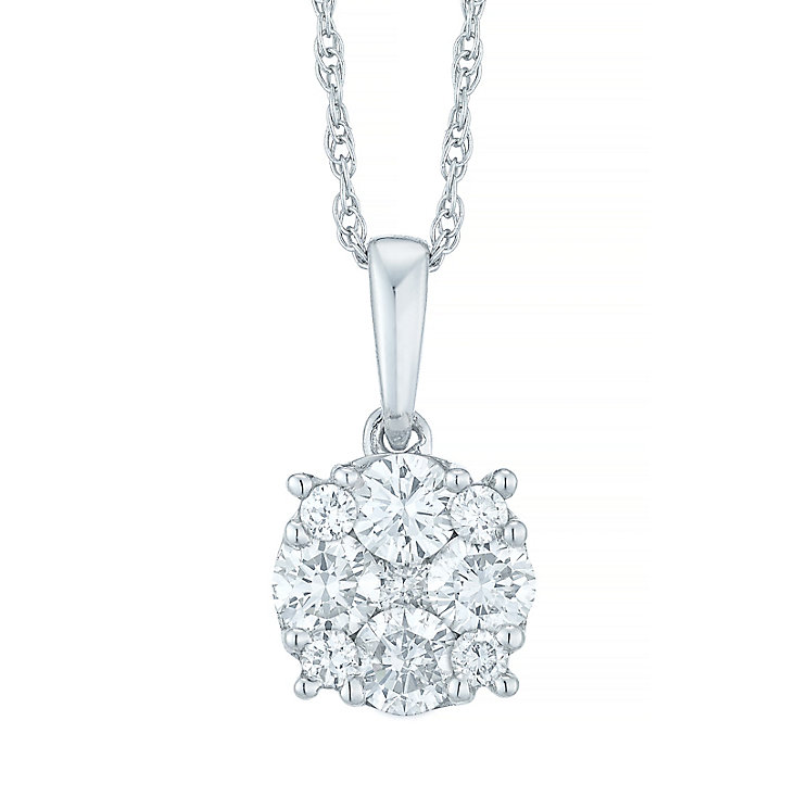 9ct White Gold 1/3 Carat Diamond Cluster Pendant - Product number 5427649