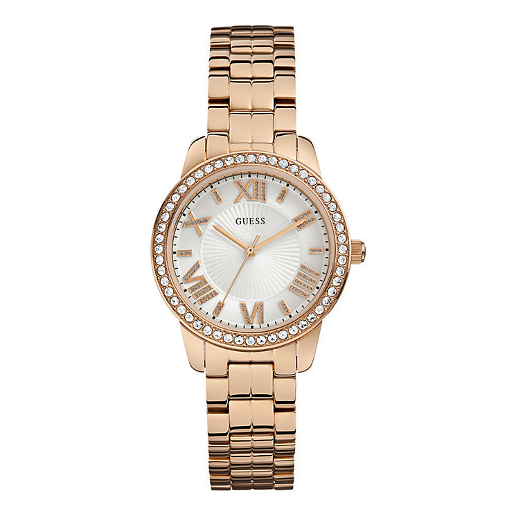 Guess Ladies' Rose Gold Plated Bracelet Watch - Product number 5427665
