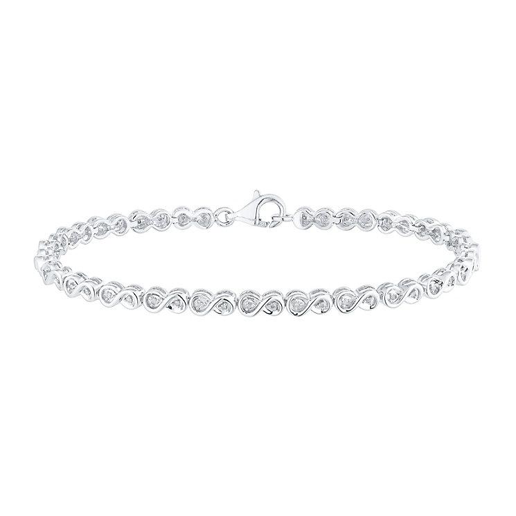 Sterling Silver 1/5 Carat Diamond Set Link Bracelet - Product number 5427762