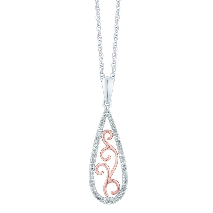 Sterling Silver & 9ct Rose Gold 0.16 Carat Diamond Pendant - Product number 5429277
