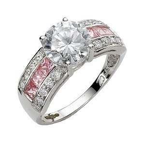 9ct White Gold Pink and Clear Cubic Zirconia Ring