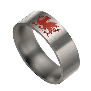 Titanium Welsh Dragon Ring
