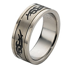 Titanium and Black Tribal Pattern Ring - Product number 5444152