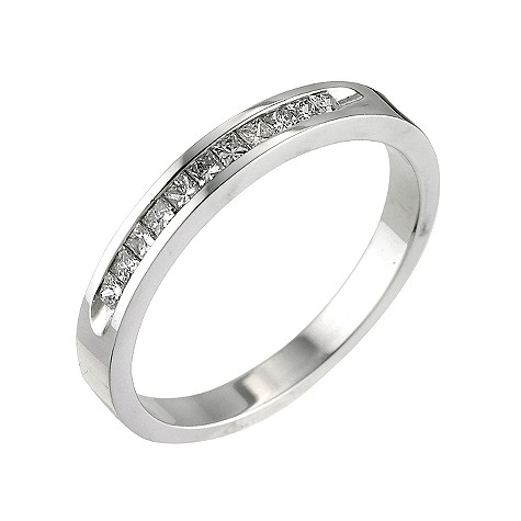 18ct white gold quarter carat diamond set ring