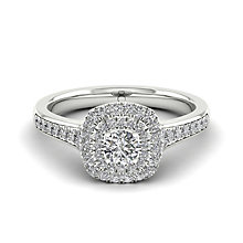 The Diamond Story 18ct White Gold 50pt Diamond Halo Ring - Product number 5511798