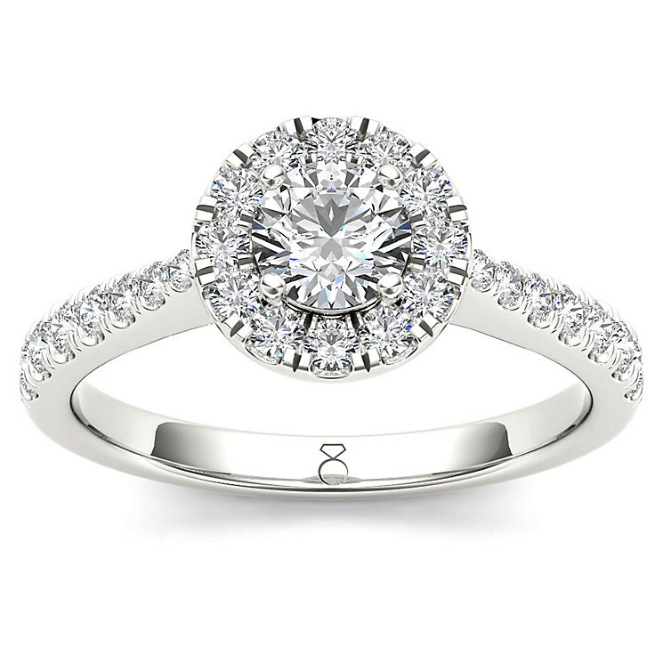 The Diamond Story 18ct White Gold 50pt Diamond Halo Ring - Product number 5512190